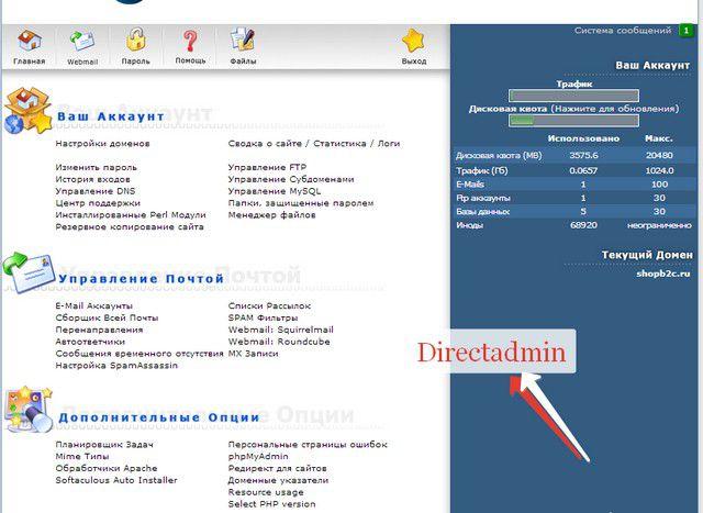 панель Direct admin