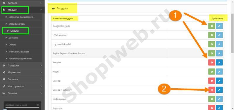 Модули Open Cart, размещение модуля на макете shopiweb.ru