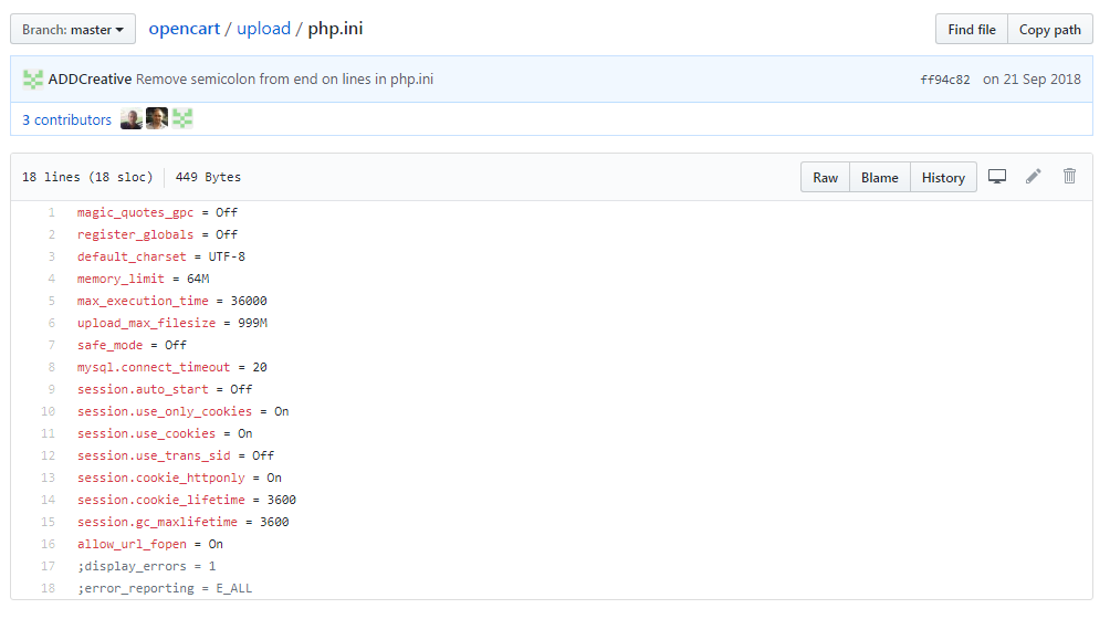 Файл php.ini Opencart