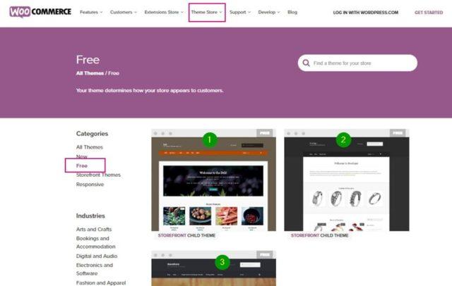 найти бесплатнуютему для WooCommerce на сайте плагина